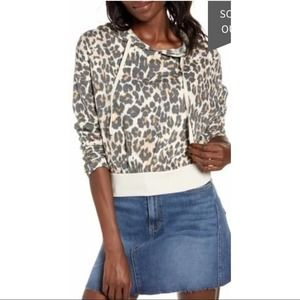 NEW BP Cropped Leopard Dash Hoodie Small